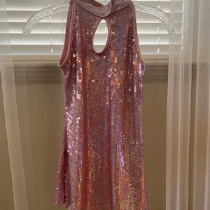Pink hologram and metallic sequin dress